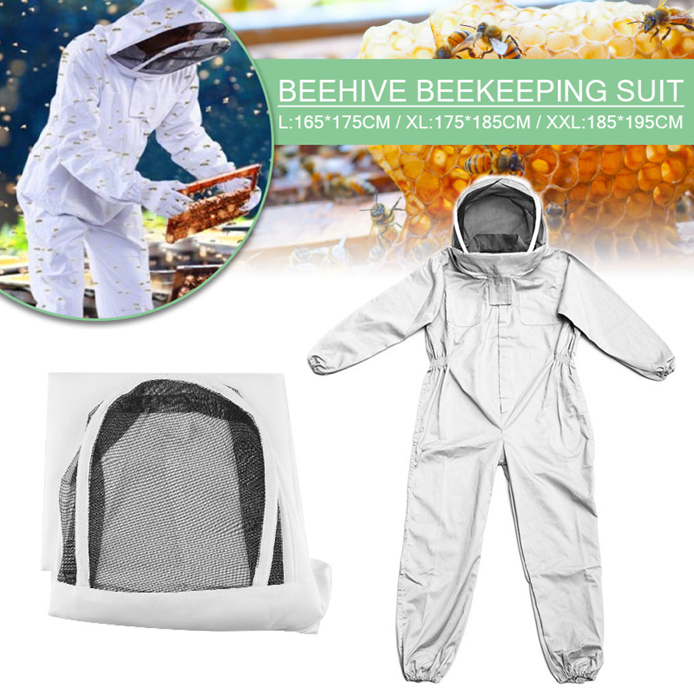 Professional  Full Body Beekeeping Clothing White Bee Keeping Suit Bee Keeper Breathable Safty Veil Hat Dress All Body Equipment