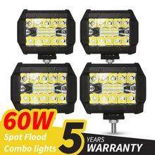 60w 4 polegadas 20led luz de trabalho à prova dwaterproof água led barras de luz ponto feixe de inundação para o trabalho condução offroad barco carro trator caminhão 12v 24v