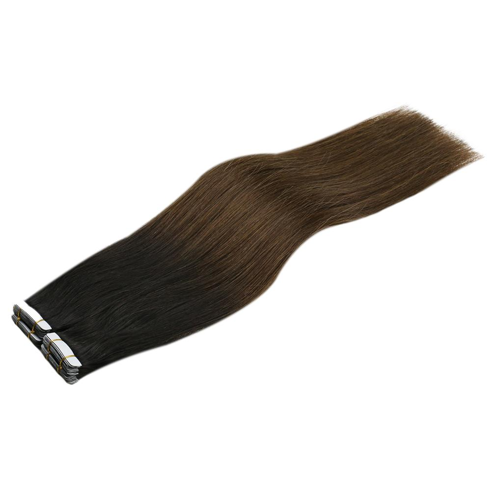 VeSunny Adhesive Tape In Hair Extensions 100% Real Human Hair 20pcs Ombre Natural Black To Chocolate Brown T#1B/4 50gr