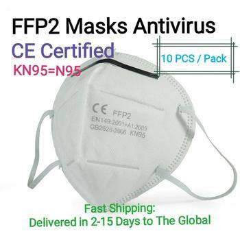 10 PCS FFP2 N95 Masks 4-Layer CE Verified Antivirus Reusable Face Mouth Mask Virus Flu Precaution Respirator Global Shipping