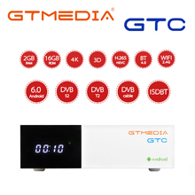 Caixa bt4.0 6.0 da tevê de gtmedia gtc android DVB S2/t2/cabo/isdbt amlogic s905d 2gb ram 16gb rom apoio m3u cline receptor de satélite