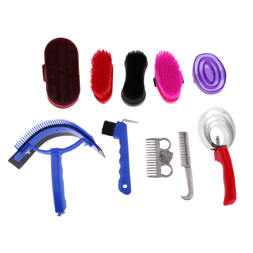 10 Pieces Functional Horse Grooming Kit Horse Care Tool Brush, Comb, Sweat Scraper, Hoof Pick Equipment