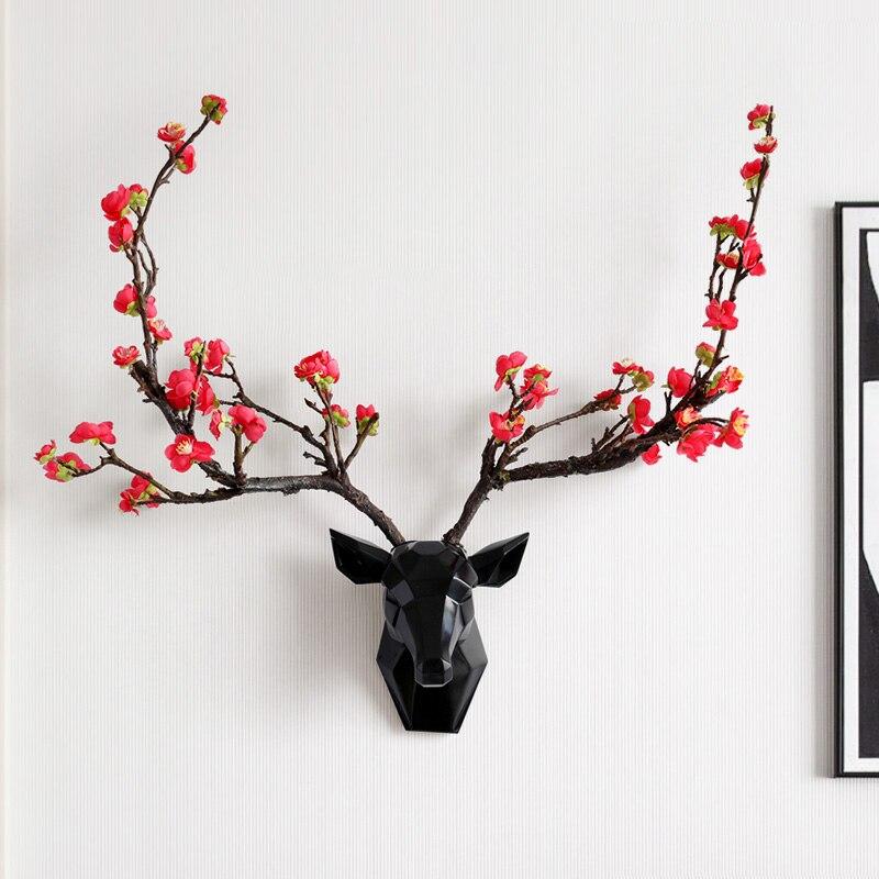 Resin 3d Deer Hear With Flower Horn Wall Decor Modern Animal Head Livingroom Corridor Decorations Abstract Sculpture Wall Statue