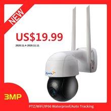 Zjuxin 3mp ptz ip wifi câmera de segurança cctv rastreamento automático câmera de áudio bidirecional onvif ai detecção humana ao ar livre sem fio cam