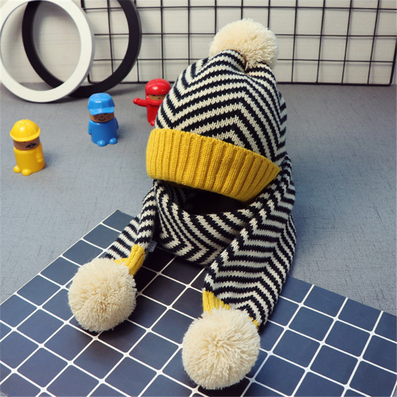 Kids Solid Striped Pom Pom Beanie Hat Scarf Set Children Warm Winter Knitted Stripes Hat Scarf Sets Yellow Blue Red Color