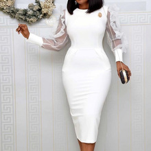 White African Women Bodycon Dress Mesh Long Sleeve High Waist Elegant Cocktail Party Midi Dresses Robe Office Lady Vestiods white solid color high neck high waist midi dresses