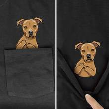 Funny Dog and Cat cartoon animal Printed In Pocket T Shirt Black Cotton Men Fashion Short sleeve Unisex Summer Cotton t shirt(China)
