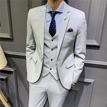 Top Quality Mens Formal Three Piece Suit Sets Slim Fit Blazer Vest Wedding Dress Suits Office Work Clothes Banquet Party Suits(China)