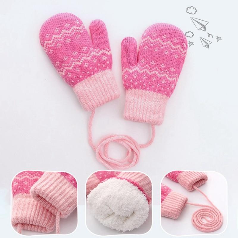 Gloves Kids Winter Warm Knitted Mittens Full Finger Outdoor Children Gloves New