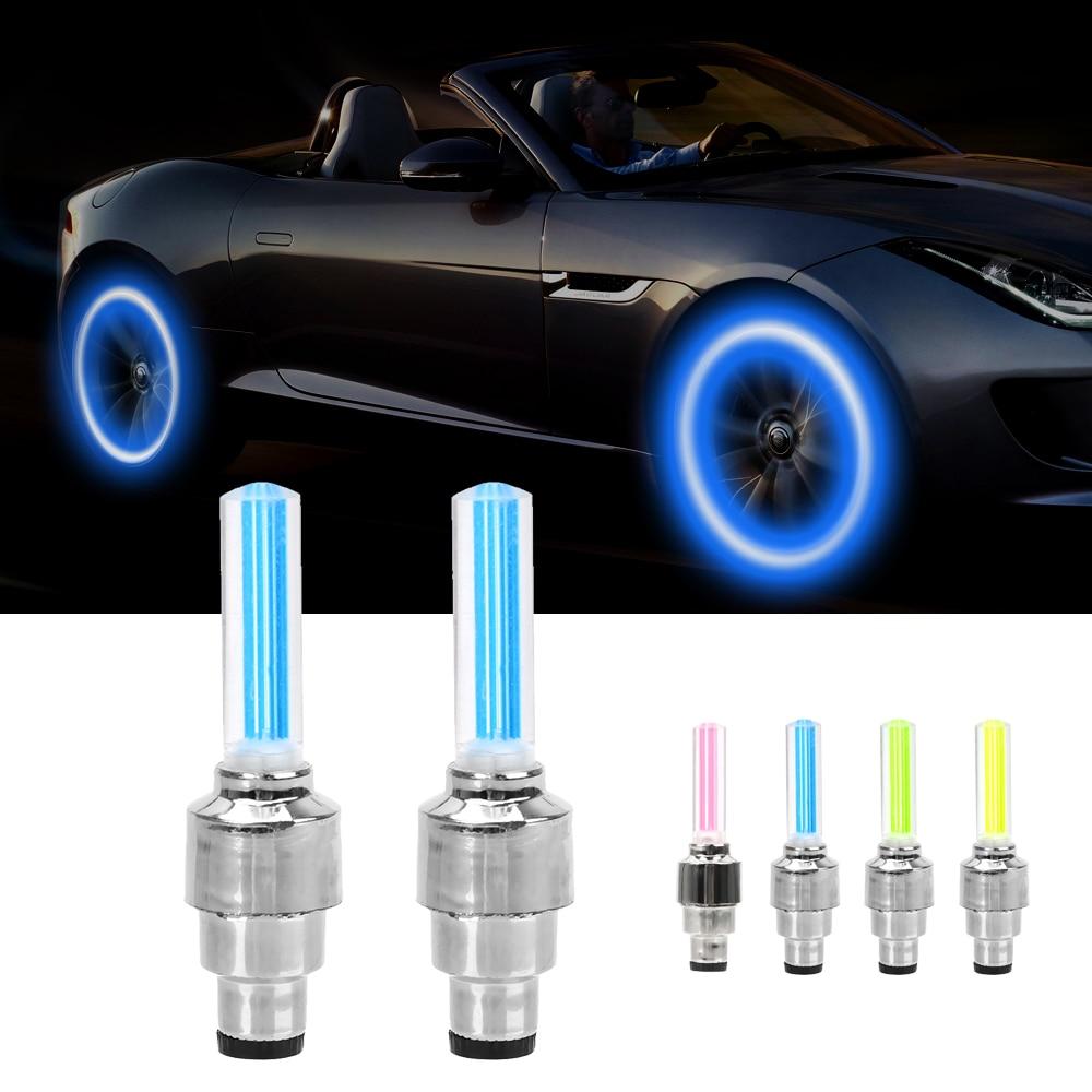 FORAUTO 2PCS ล้อรถ LED รถจักรยานยนต์จักรยานยางวาล์วหมวกตกแต่งโคมไฟยางวาล์วหมวกแฟลช Spoke โคมไฟนีออน