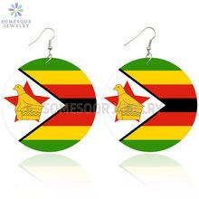 SOMESOOR Zimbabwe nadruk flaga narodowa afrykańskie drewniane kolczyki czarne korzenie etniczne pętle wisząca biżuteria dla kobiet prezenty