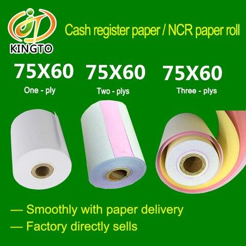75 60mm china fabricante ncr papel de rolo de papel sem carbono dinheiro