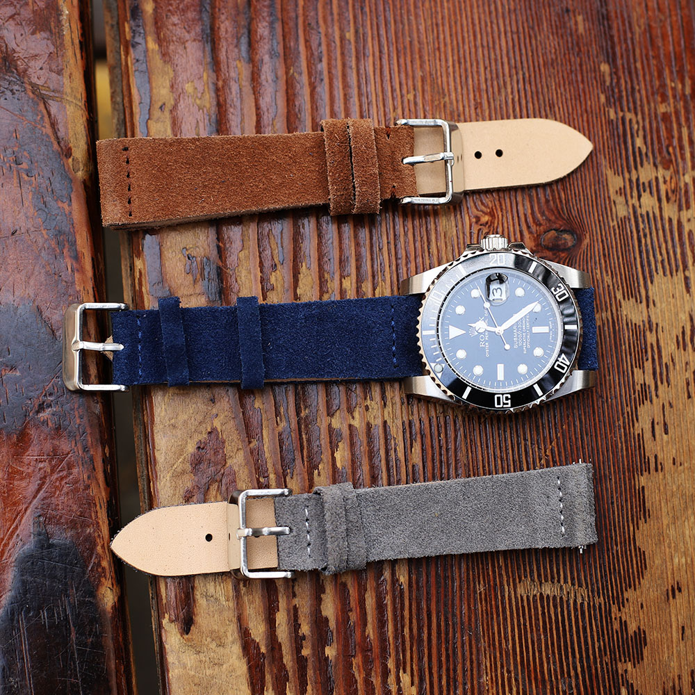 Watch Accessories Suede Watch Strap Double Layer Leather Handmade Vintage Watch Band Suede Watchbands 18mm 20mm 22mm 24mm