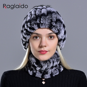 Image 4 - rabbit fur pompom hat ring scarf set womens winter fashionable natural fur knitted caps neck warmers for girls female