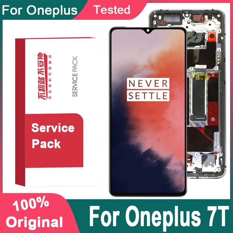 100% Оригинальный дисплей 6,55 дюйма на замену для OnePlus 7T AMOLED LCD кодирующий преобразователь сенсорного экрана в сборе для экрана дисплея 1 + 7T