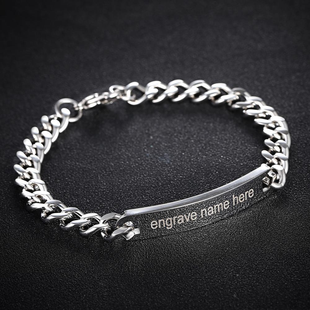 Парные браслеты Выгравировано Название чехол для телефона на руку серебристого цвета из нержавеющей стали, браслет-напульсник, высочайшег...