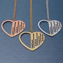 Персонализированное ожерелье с именем сердца гравировкой имени