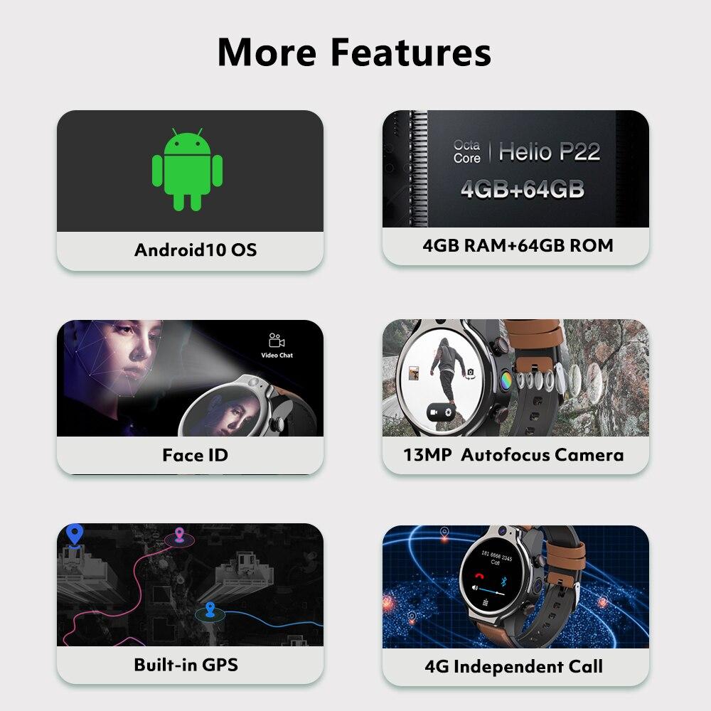 Глобальные Смарт-часы с поддержкой 4G, LTE, Android, 4 Гб + 64 ГБ, 1600 мАч, GPS, камера 13 МП, водозащита IP68, поддержка Sim-карты, Wi-Fi 4