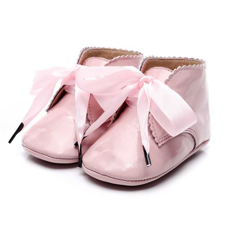 Toddler Kids Baby Girls Shoes Fashion Warm Lace-Up PU Princess Sneaker Crib Shoes