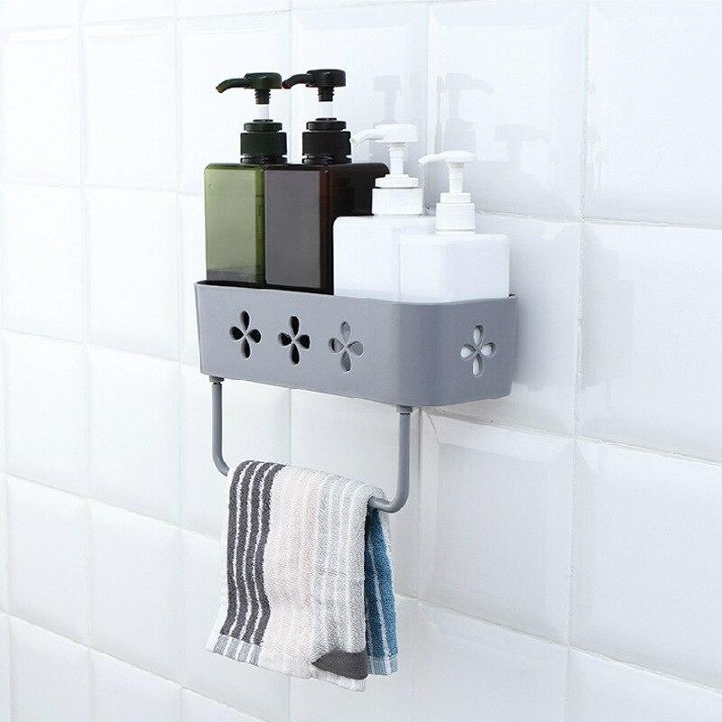 Kitchen Bathroom Shelf With Towel Rack Corner Shower Shelf Storage Holder Organizer Bathroom Accessories Pf08277
