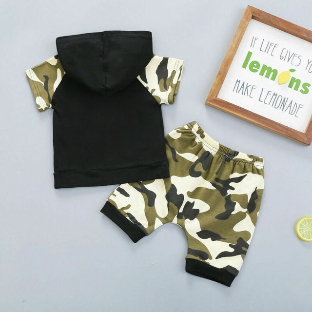 Citgeett Summer Camo Baby Kids Boy Camouflage Hoodie Tops+Shorts Gentle Clothes Outfit Set Clothing 3