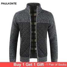цены на 2019 Autumn And Winter New Men'S Cotton Plus Velvet Thick Knit Sweater Colorblock Cardigan Knit Jacket Warm And Comfortable  в интернет-магазинах