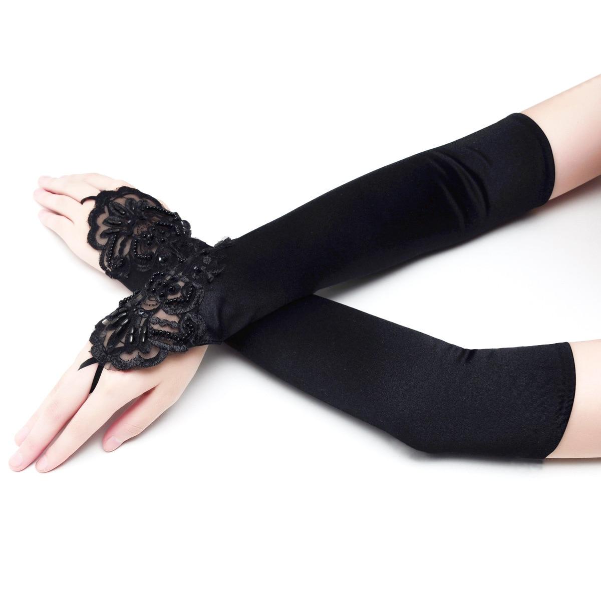 Bridal Wedding Veil Dress Gloves Lengthen Fingerless Small Floral Embroidered And Tablet M White Black Red Gloves