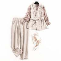 Women OL style elegant outfits new 2020 spring summer chiffon tops and blouse + vest + pants 3 piece set with green beige corset
