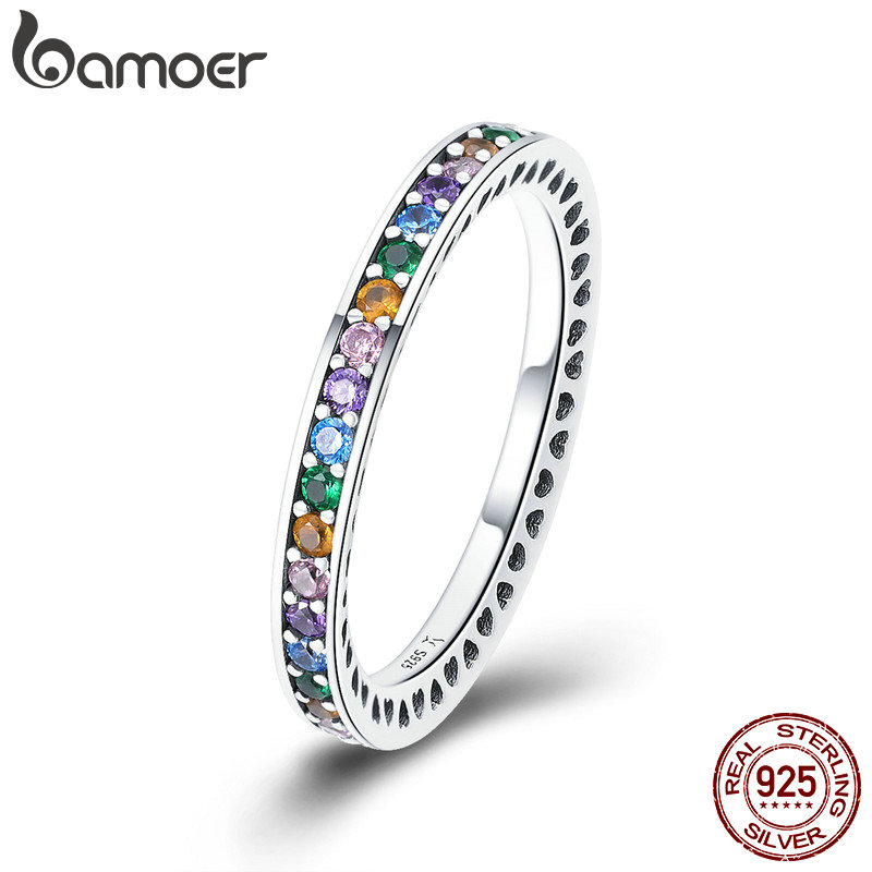 BAMOER Genuine 100% 925 Sterling Silver Colorful CZ Crystal Round Pave Finger Rings Engagement Wedding Jewelry Gift S925 SCR392(China)
