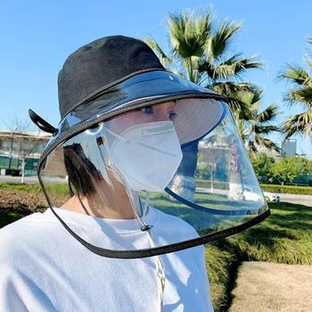 Women Bucket Hat Adjustable Anti Droplet Dust-proof Full Face Protective Cover Mask Visor Shield Anti Splash Mask Hat For Men
