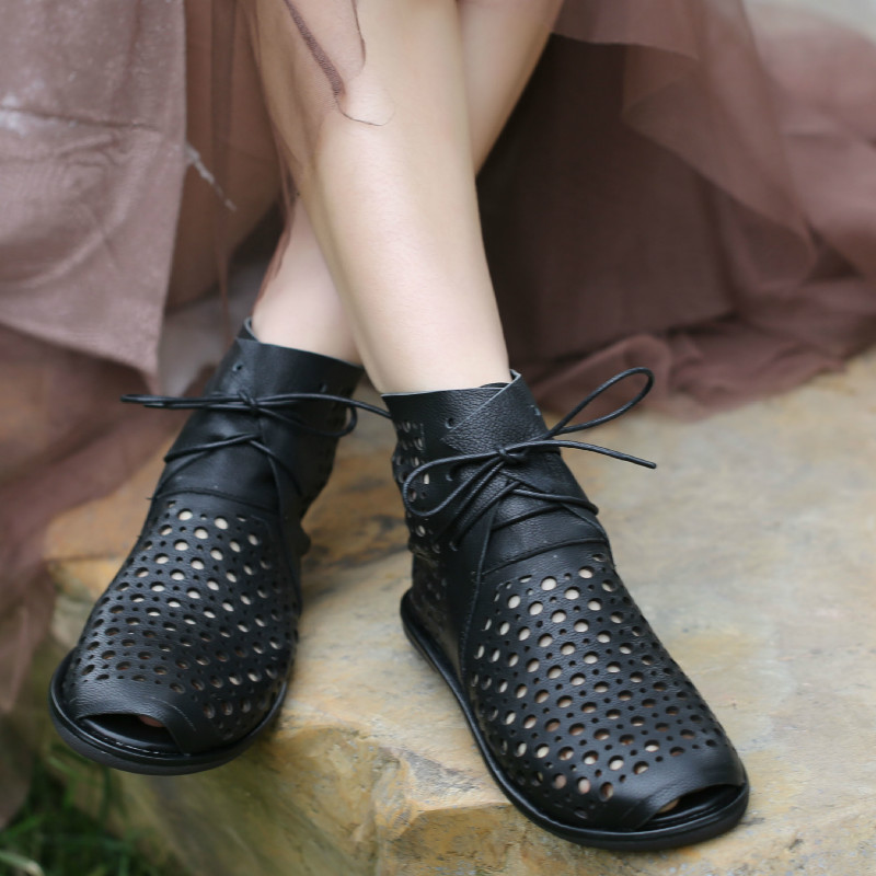 Women Leather Boots Peep Toe Low Heels Summer Shoes Black Casual Soft Leather Ankle Boots Sandals Women Handmade Brand 2020