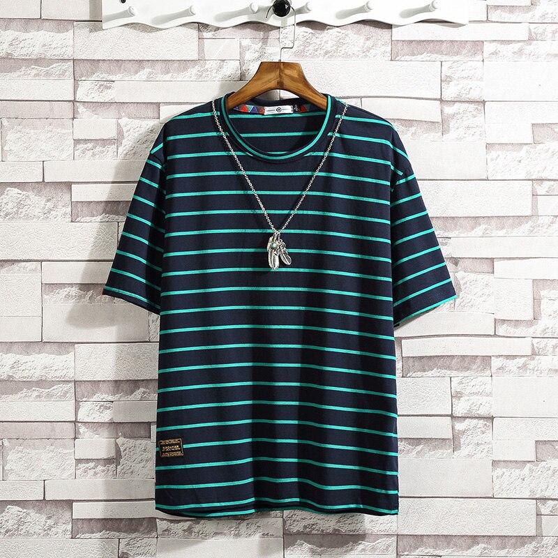 Camiseta informal de manga corta cuello redondo para hombre de Camisa de algodón rayas negras... ropa verano TOP camisetas M-5XL grande 2021