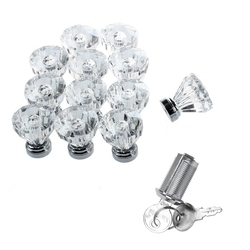 12 sztuk krystalicznie czyste szkło klamki do szafki do szuflady meble pochwyty i 2 sztuk drzwi szuflada szafki bezpieczeństwa cylindra złącze camlock