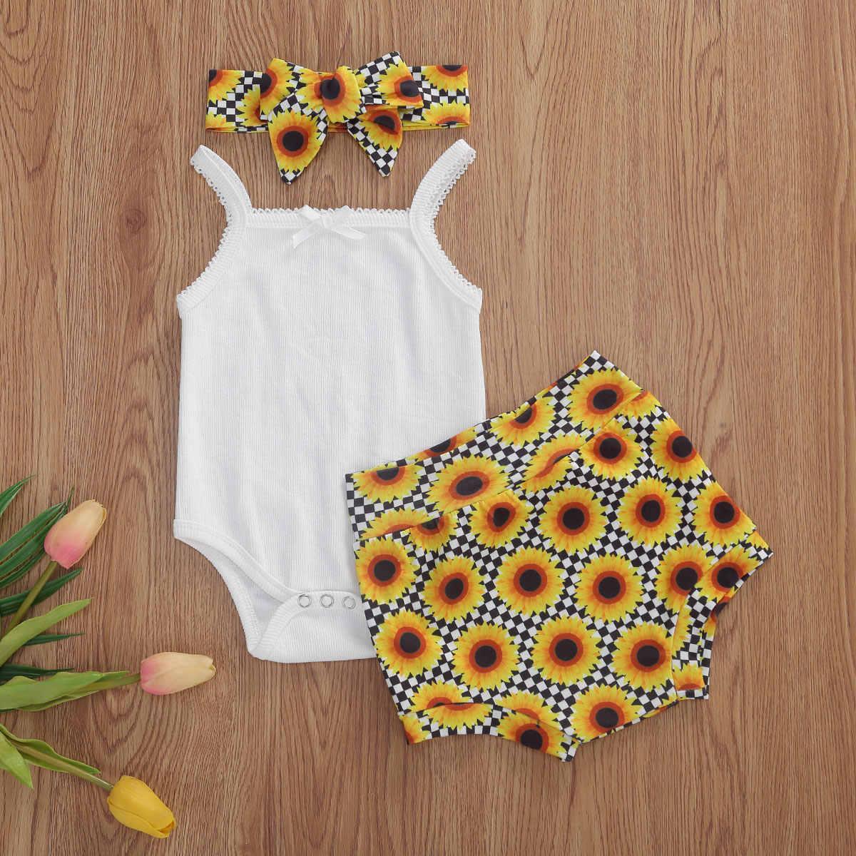 Yenidoğan bebek bebek kız erkek giysileri setleri 3 adet baskı Ruffles kollu Romper üstleri şort kafa 0-18M