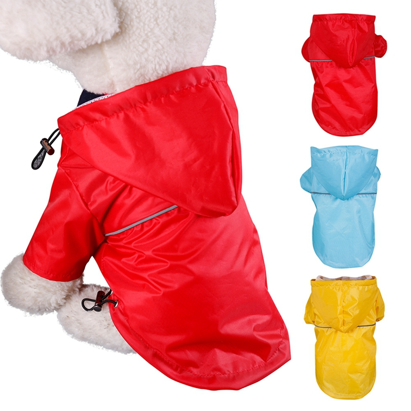 Waterproof font b Pet b font Dog Raincoat Hooded PU Reflective Rain Coat Outdoor Jackets Clothes