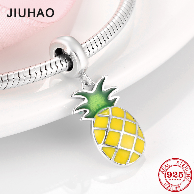Summer Style 925 Silver Pineapple Yellow And Green Enamel Charm Beads Fit Original Bracelet Pandora For Women DIY Jewelry Making