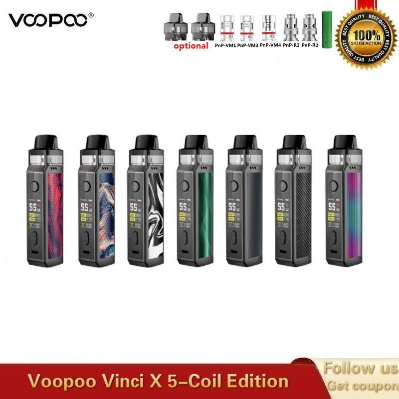 Original VOOPOO VINCI X Pod Kit Powered By Single 18650 Battery Dual-coil System With 5.5ml Cartridge VS Vinci Kit Drag 2 Vape