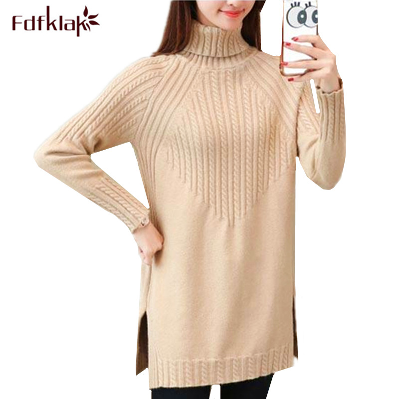 Fdfklak Women Sweater Knitted Top Turtleneck Pullover Sweater Large Size Loose Ladies Sweaters Pull Femme 2019 Winter Sweter 3XL