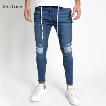 Hole Ripped Men Jeans 2020 New Fashion Embroidery Letter Slim Pencil Pants Sexy Casual Foot Opening Zipper Design Streetwear