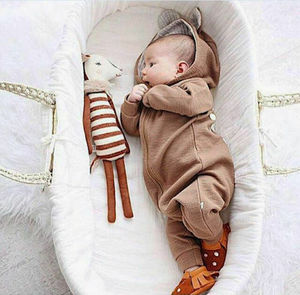 Dziecko Xmas odzież niemowlęta chłopiec dziewczyna z kapturem ciepłe Romper zima jesień maluch Zip kombinezon pajacyki dla ubranka dla chłopców noworodków strój
