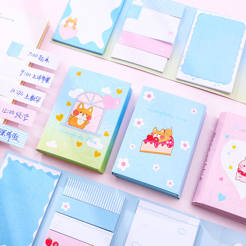 Rabbit Shiba 6 Folding Memo Pad N Times Sticky Notes Memo Notepad Bookmark Gift Stationery