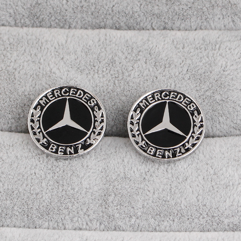 Germany round drip car logo Mercedes-Benz cufflinks creative jewelry fashion French-style cuff nails wild clothing accessories