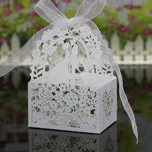 50 peças corte oco carruagem favores presentes coração laser festa de casamento suprimentos caixas de doces fita chá de fraldas caixas de presente sacos