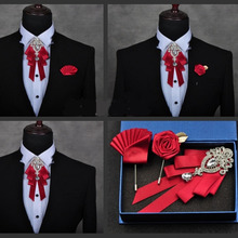 High-quality Fashion Handmade Red Diamond Bow Tie Wedding Collar Bowtie Brooch Pocket Towel Square Set Gifts for Men Accessories