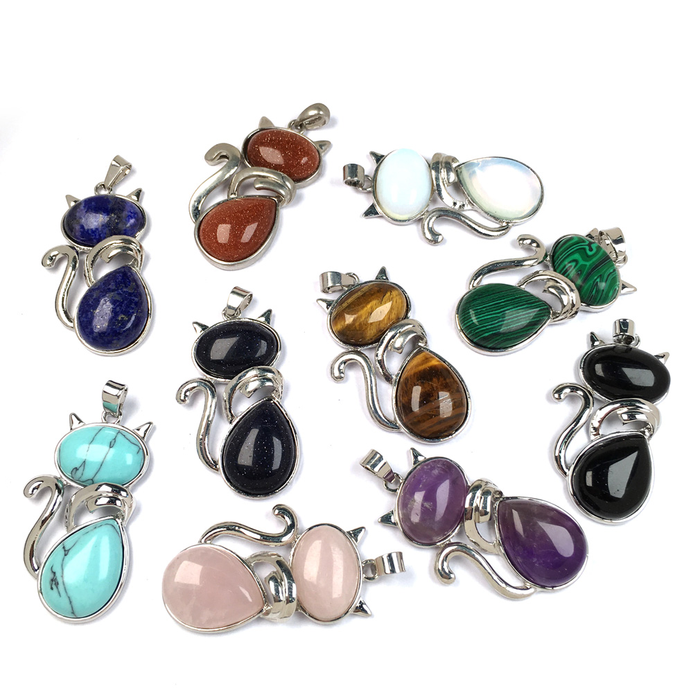 Natural Stones Cat Shape Flat Bead Pendant Cute Kitten Plated Pendants For Jewelry Making Diy Reiki Necklaces Accessories Charms Aliexpress