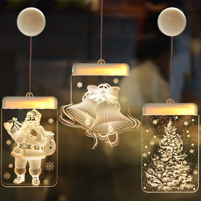 Fairy Warm White Christmas Window Sucker Lamp Bell Elk Xmas Tree Snowflake Sign Design Hanging Light Battery Power New Year Led