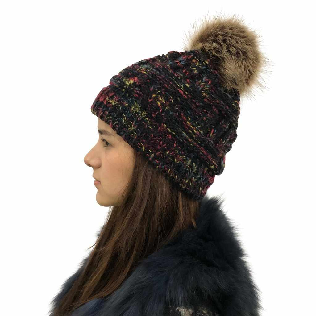 Moda inverno feminino multicolorido malha chapéus de lã quente pom pom caxemira malha beanies alta qualidade casual ao ar livre bonés