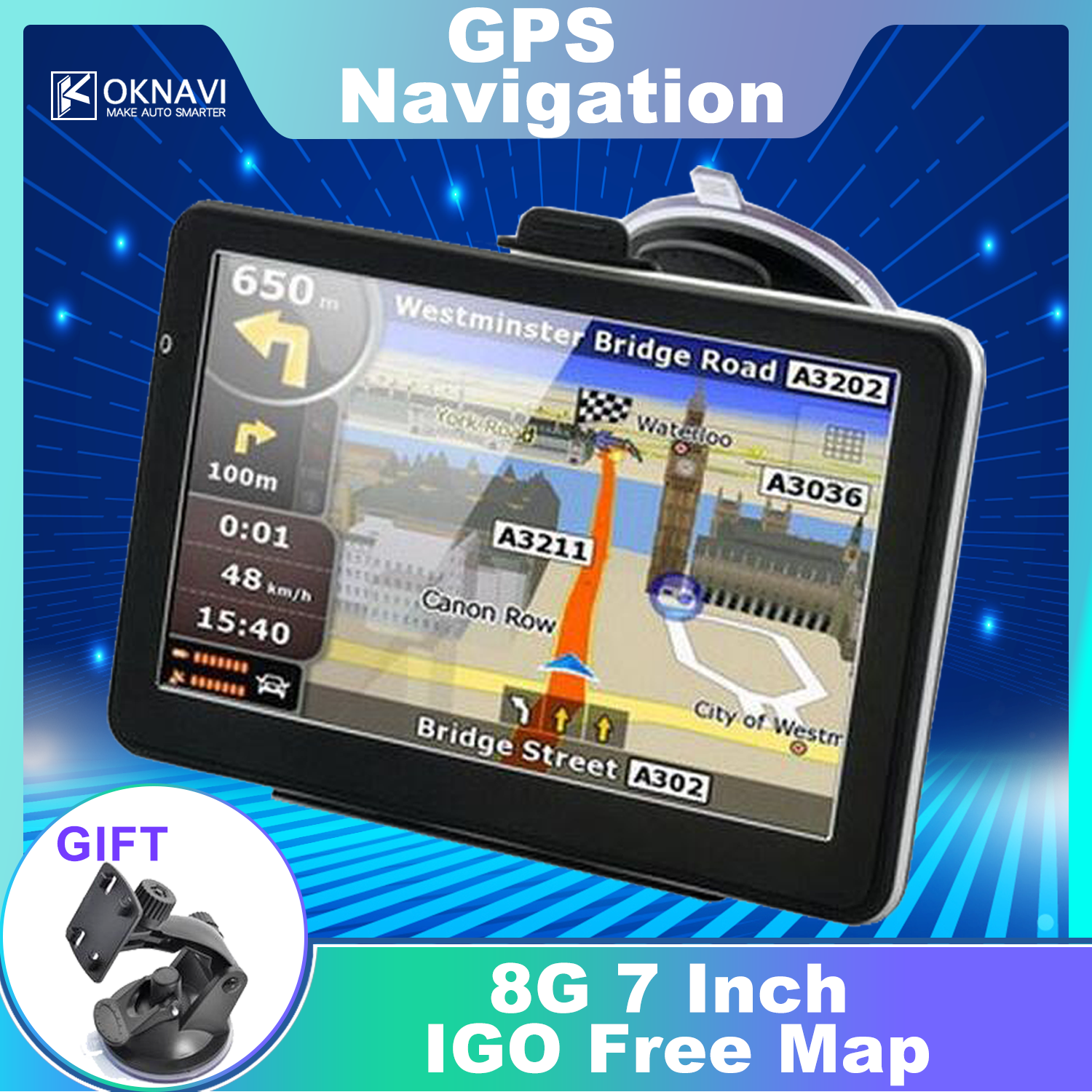 "OKNAVI 5"" 7"" Inch Touch Screen Android Car GPS Navigation Navigator IGO Latest Europe Map Truck Navigators Automobile Free Maps"