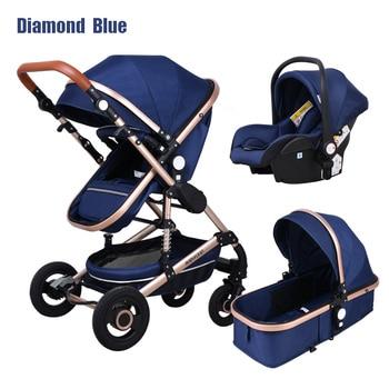 Newborn Baby Stroller 3 in 1 High Landscape Carriage Luxury Travel Pram Basket quality Stroller Baby Car seat Hot Sale Upgrade! 31