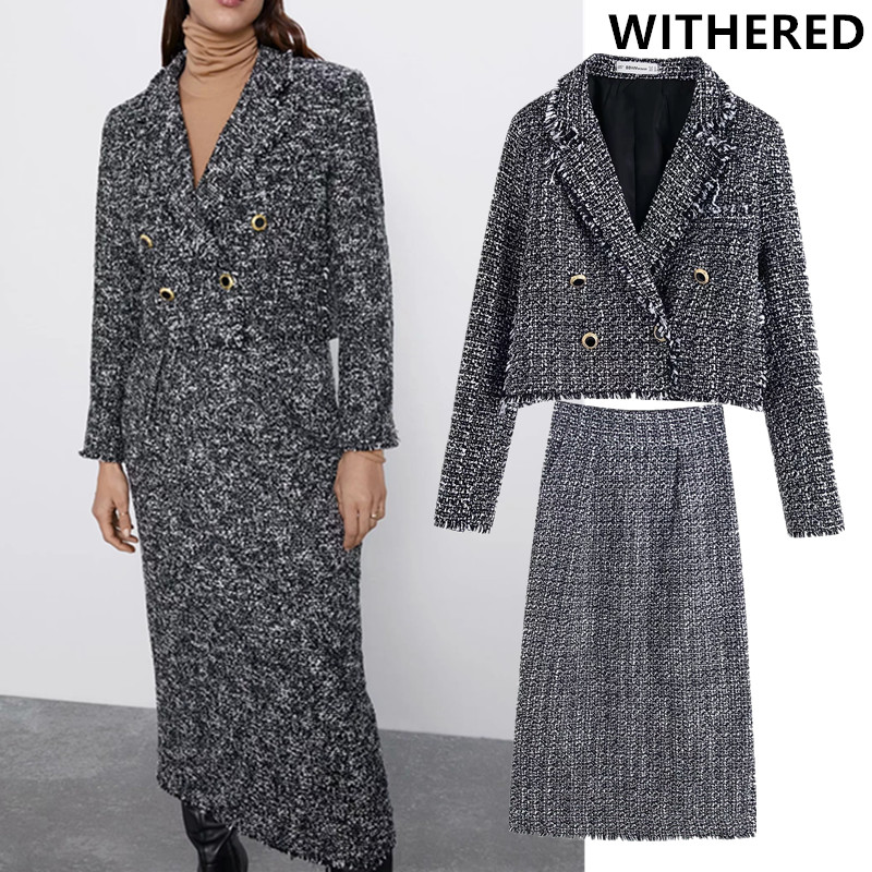 Witheredengland Office Lady Elegant Vintage Doubel Breasted Texture Blazer Women Jackets Long Skirt Women Faldas 2 Pieces Sets
